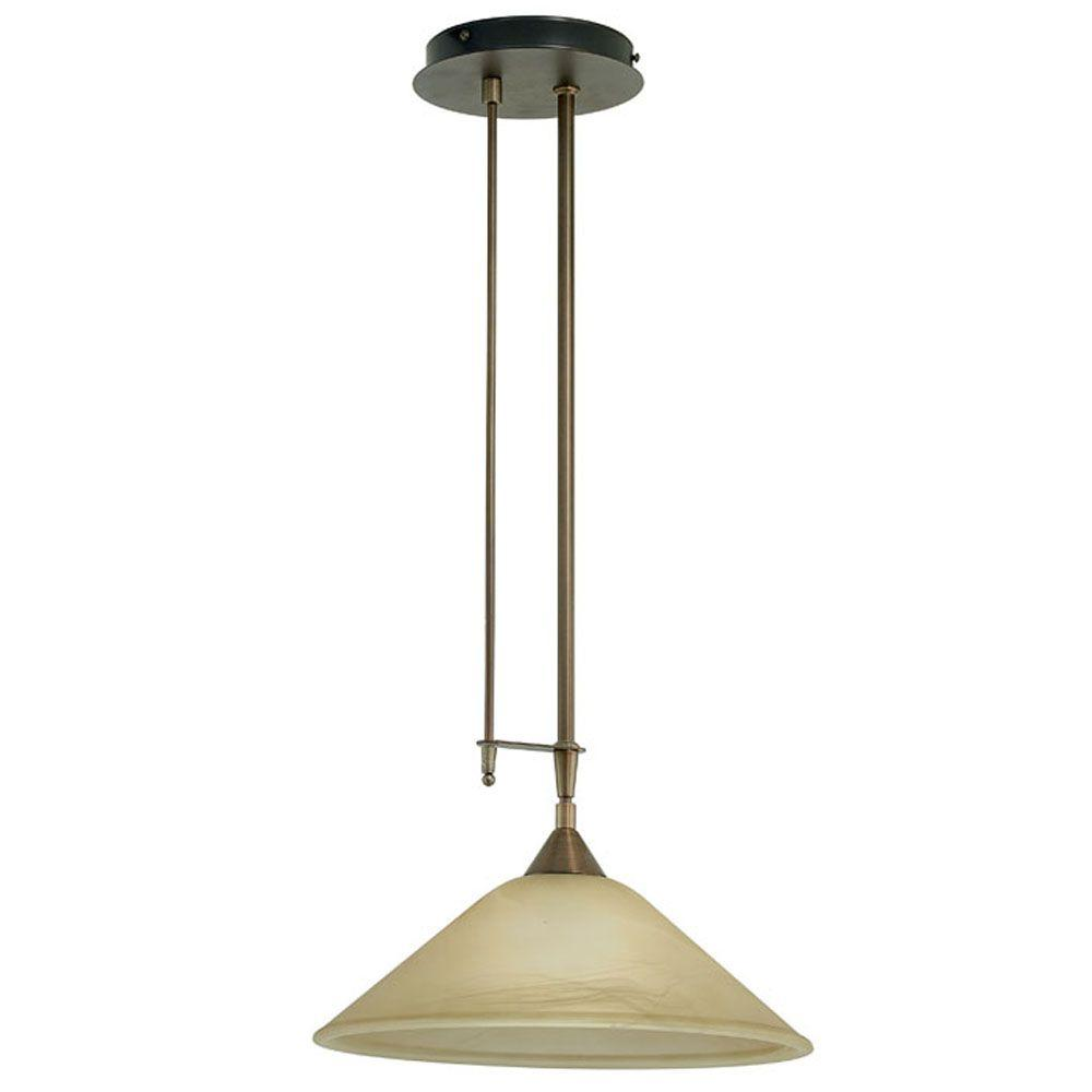 Madai 1-Light Bronze Hanging Pendant with Champagne Colored Glass Shade