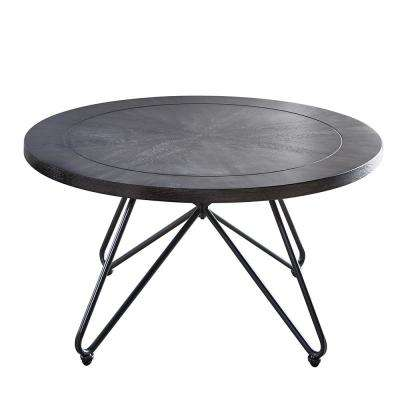 Derek Grey top and Iron Base Round Cocktail Table