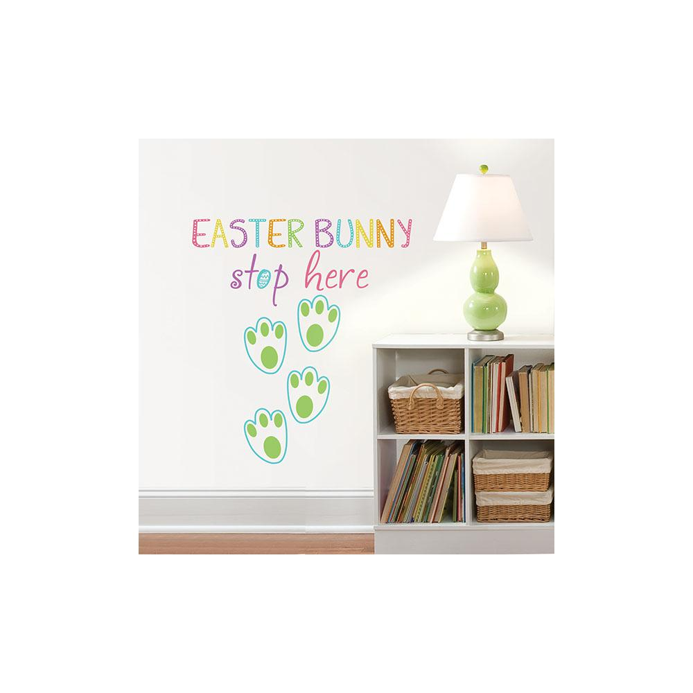 Wallpops Easter Bunny Stop Here Wall Quote Dwpq2407 The Home Depot