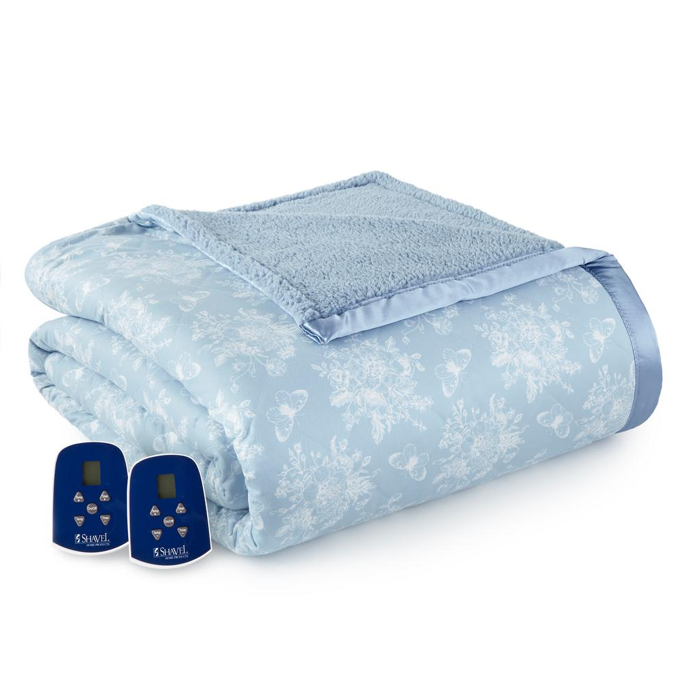 Reverse to Sherpa King Toile Wedgewood Electric Heated Blanket