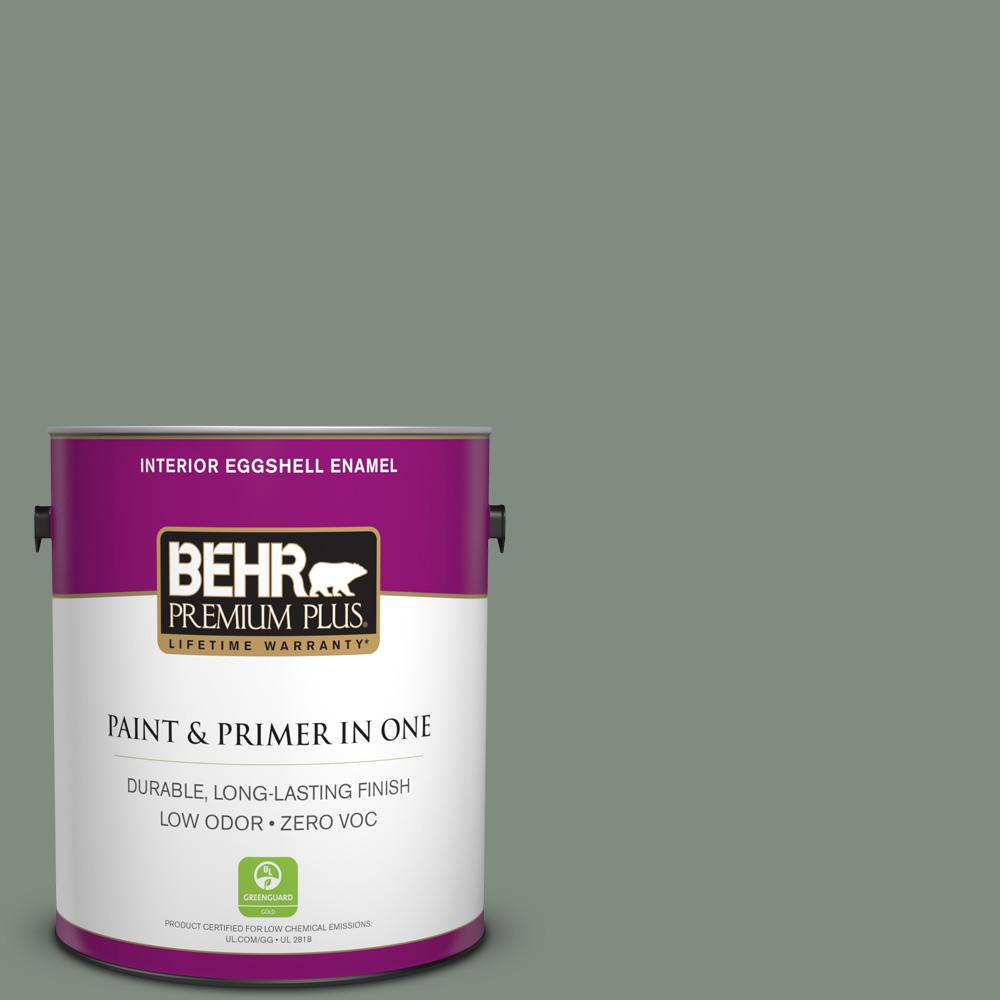 BEHR Premium Plus 1-gal. #710F-5 Valley Hills Zero VOC Eggshell Enamel Interior Paint