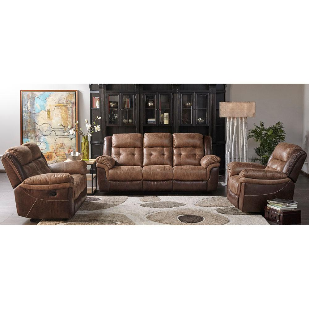Hawk 3-Piece Brown Living Room Set