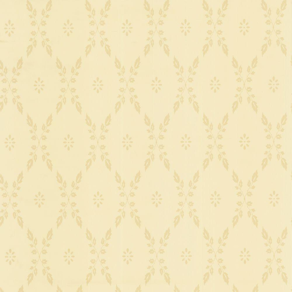 The Wallpaper Company 8 in. x 10 in. Beige Leaf Trellis Wallpaper Sample -DISCONTINUED