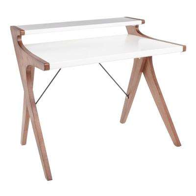 Archer Walnut Wood Office Desk with White Wood Top