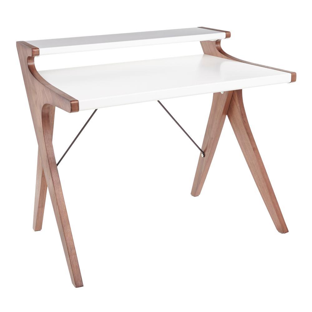 43 in. Rectangular White/Walnut Writing Desk with Hutch
