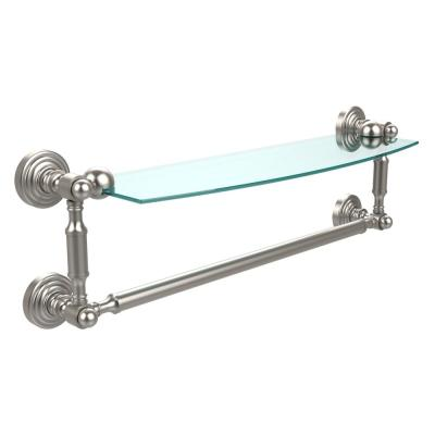 Waverly Place Collection 18 in. Glass Vanity Shelf with Integrated Towel Bar in Satin Nickel