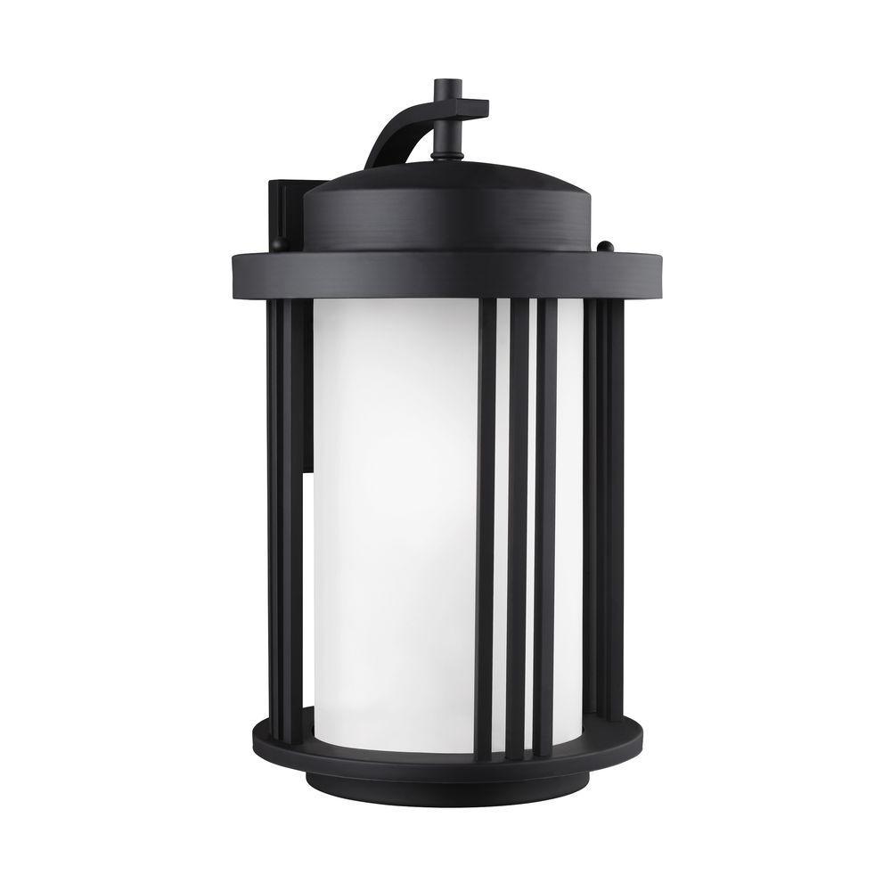 Crowell 1-Light Black 19.5625 in. Wall Lantern Sconce
