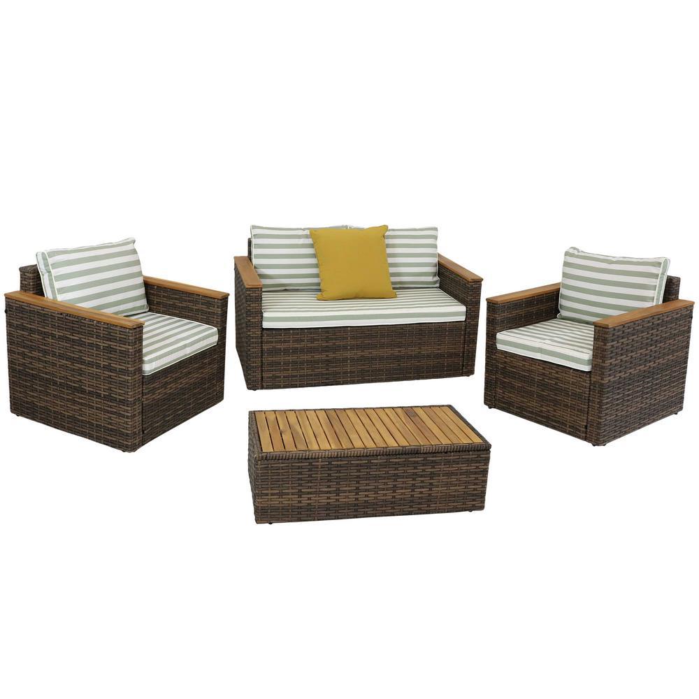 Sunnydaze Decor Kenmare 4 Piece Rattan And Acacia Outdoor Patio Furniture Set Gf 677 The Home Depot