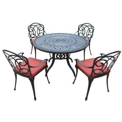 Berkley 5-Piece Aluminum Outdoor Dining Set with Red Cushions