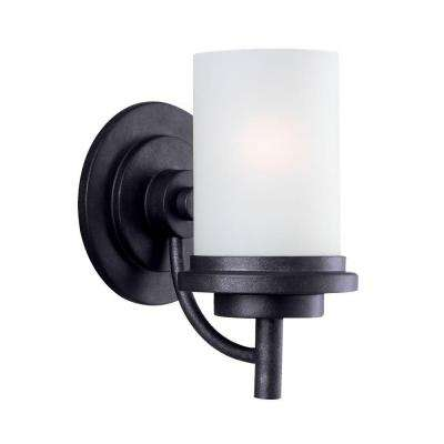 Winnetka 6 in. W 1-Light Blacksmith Sconce with Satin Etched Glass