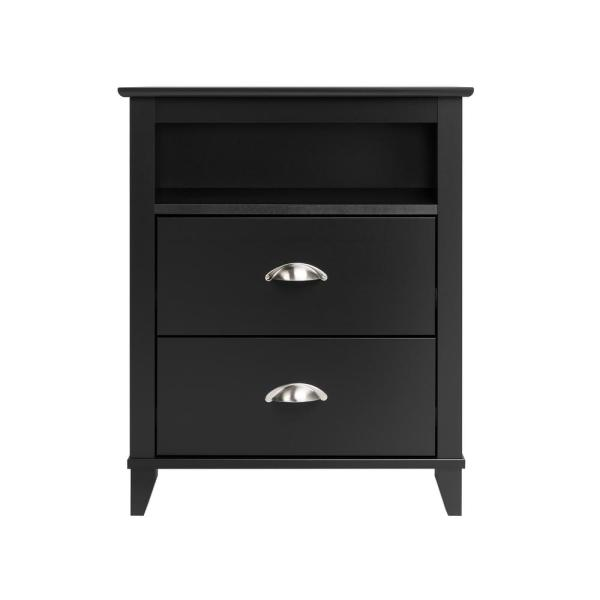 Prepac Yaletown 2 Drawer Black Tall Nightstand Bdnh 1202 1 The Home Depot