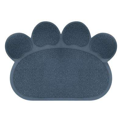 Nonslip Food and Litter Paw Shaped Mat in Navy
