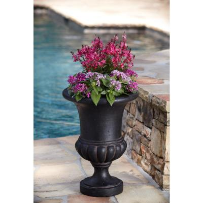 29 in. H in Aged Charcoal Stone Bulbous Urn