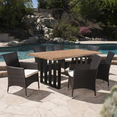 Brenner Multi-Brown 7-Piece Polyethylene Wicker Outdoor Dining Set with Beige Cushions