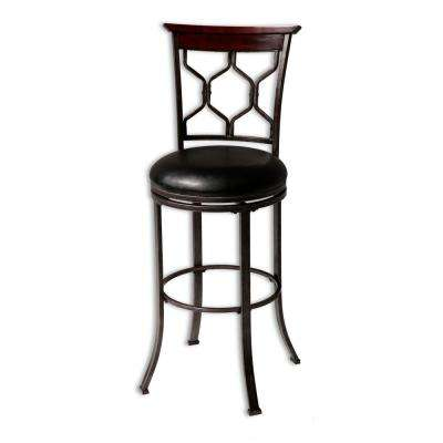 26 in. Tallahassee Metal Counter Stool with Black Upholstered Swivel-Seat and Heritage Silver Frame Finish