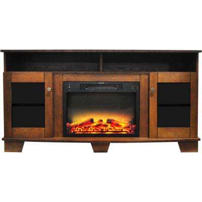 Glenwood 59 in. Electric Fireplace in Walnut with Entertainment Stand and Enhanced Log Display