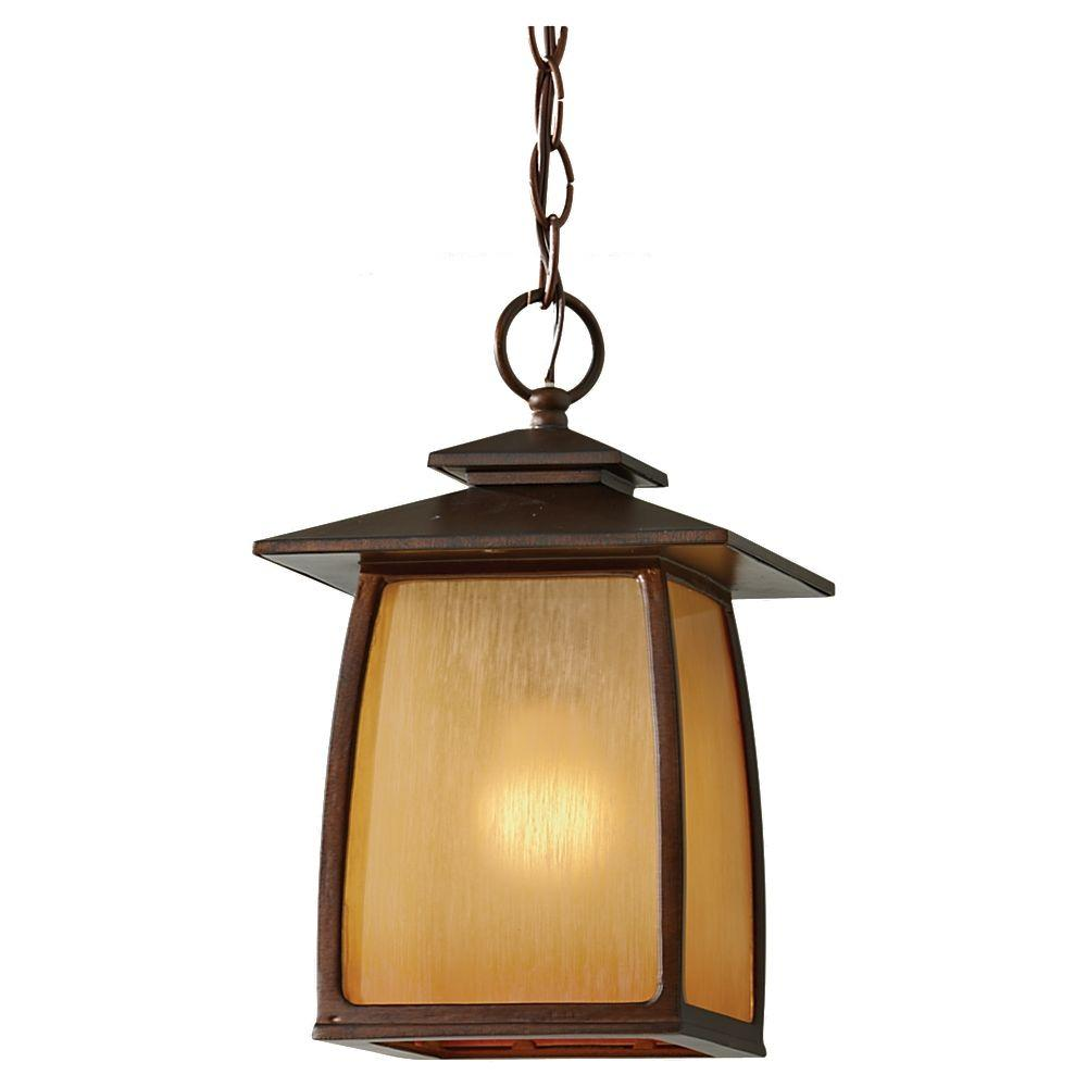 Feiss Wright House 1-Light Sorrel Brown Outdoor Hanging Pendant