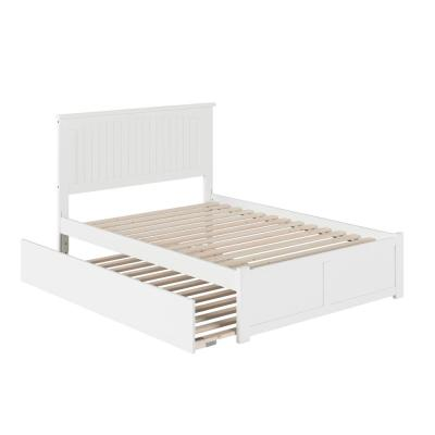 Nantucket Full Platform Bed with Flat Panel Foot Board and Full Size Urban Trundle Bed Bed in White