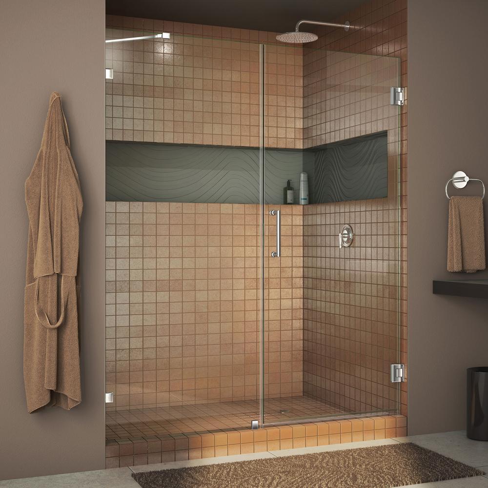 Unidoor Lux 58 in. x 72 in. Frameless Pivot Shower Door in Chrome with Handle