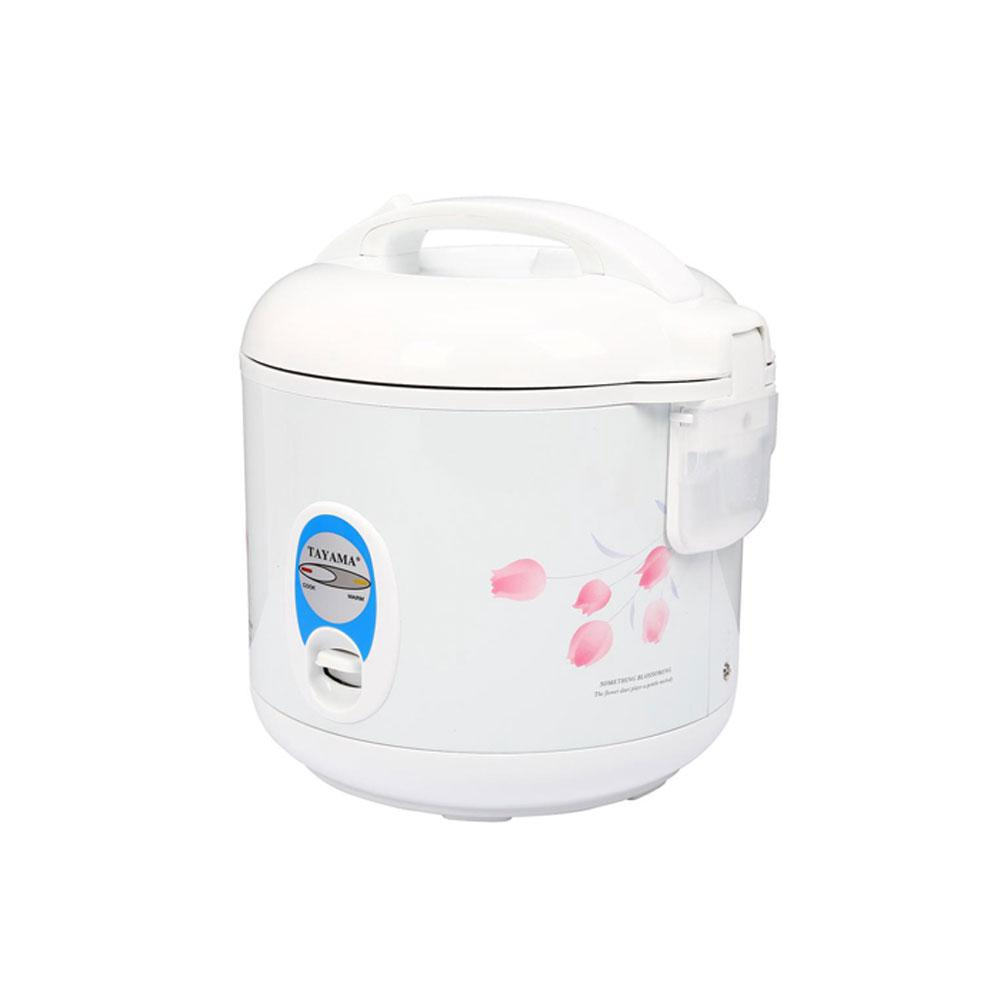5-Cup Rice Cooker, White Tayama Cool Touch TRC-04 Rice Cooker 5 Cup with Steamer. Lock-tight pressure lid keeps rice fresh and moist for hours. Removable non-stick inner pot prevents rice from sticking and ensures fast, easy clean-up. Unique heater plate for evenly efficient cooking result. Automatic keep warm function. Color: White.
