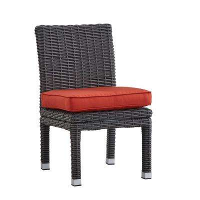Camari Charcoal Armless Wicker Outdoor Dining Chair with Red Cushion (Set Of 2)