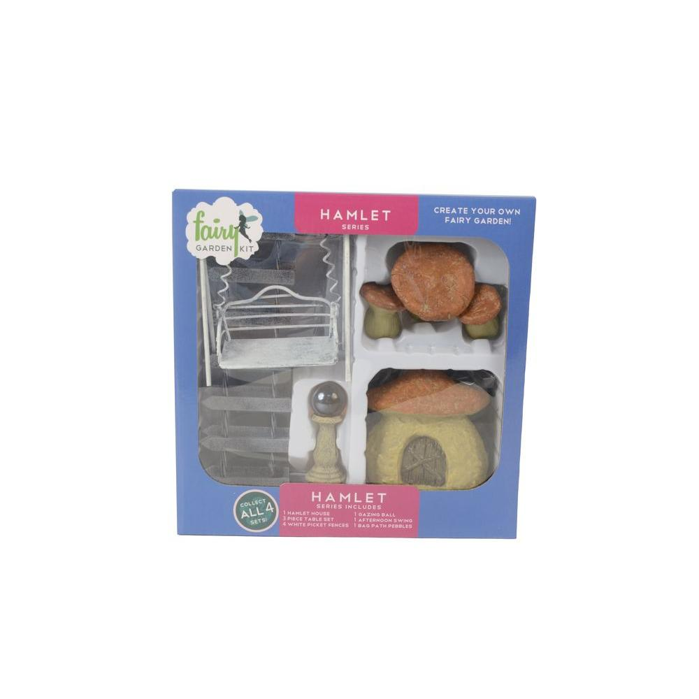 Arcadia Garden Products Hamlet Polyresin Fairy Garden Kit (11-Piece) This fairy garden kit will inspire your creativity. You can easily design a miniature garden scene and step into a world of fantasy. Fairy garden kits make it easy for children and adults to design unique and delightful gardens. Imagine the possibilities.