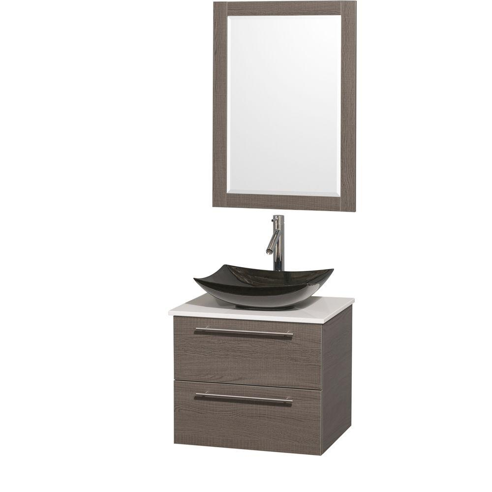 Wyndham Amare 24 in. Vanity in Gray Oak with Solid-Surfac...