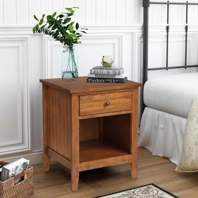 Modern 1-Drawer Wood Brown Nightstand