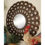 26 in. New Traditional Radiating Scallop Fretwork Framed Wall Mirror