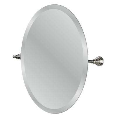 Estates 24 in. Oval Mirror in Brushed Nickel