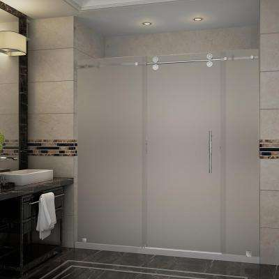 Langham 72 in. x 35 in. x 77.5 in. Frameless Sliding Shower Door, Frosted Glass in Stainless Steel with Right Base