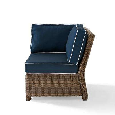 Bradenton Wicker Corner Outdoor Patio Sectional Chair With Navy Cushions