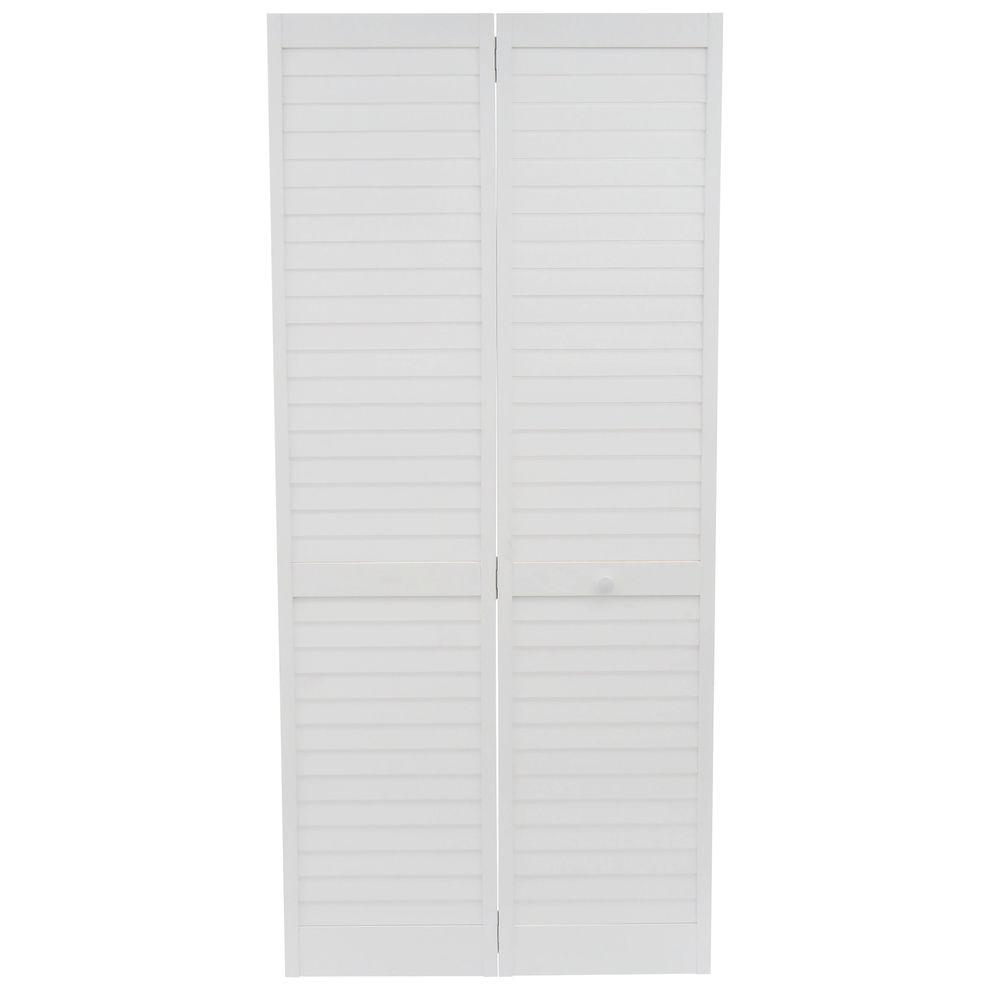 Kimberly bay 36 in x 80 in 36 in plantation louvered for Wood doors painted white