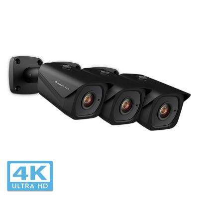 UltraHD 4K (8MP) Outdoor Bullet POE IP Security Camera with 98 ft. Night Vision IP67 Weatherproof, Black (3-Pack)