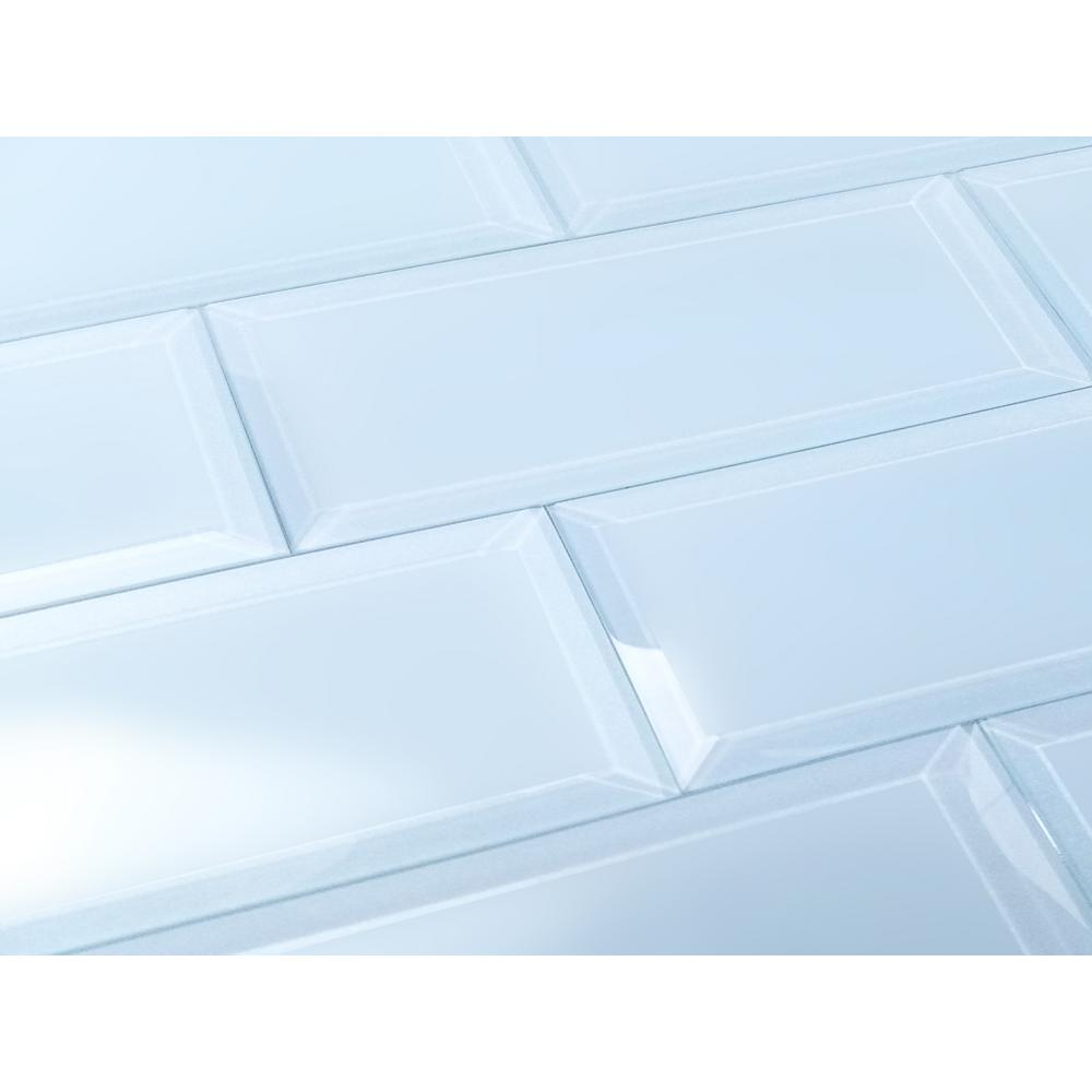 3 in. x 12 in. Frosted Elegance Catherine Blue Matte Glass