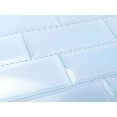 3 in. x 12 in. Frosted Elegance Catherine Blue Matte Glass Peel and Stick Wall Tile Sample