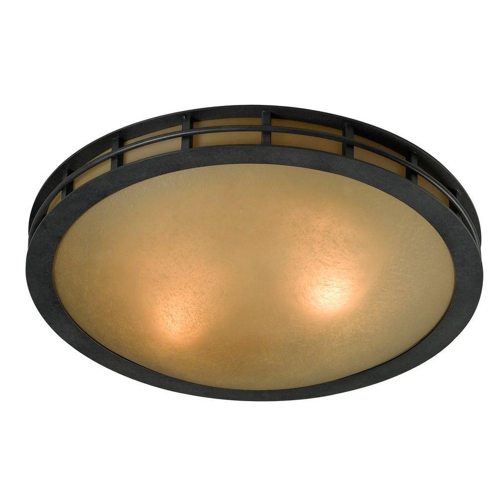 Pane 3-Light Forged Graphite Flushmount