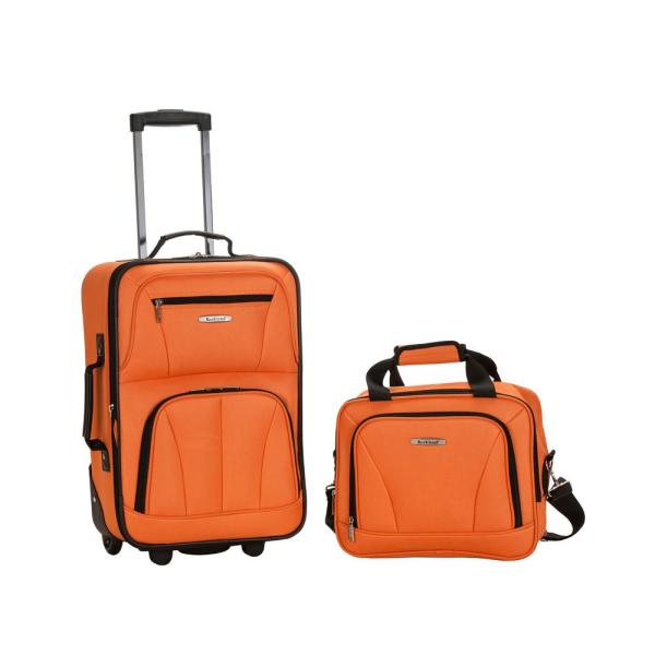 Rockland Rio Expandable 2-Piece Carry On Softside Luggage Set, Orange