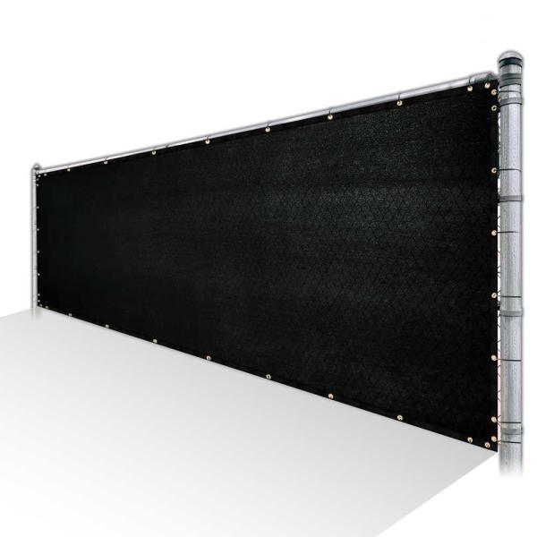 6 ft. x 1 ft. Black Privacy Fence Screen HDPE Mesh Windscreen with Reinforced Grommets for Garden Fence (Custom Size)