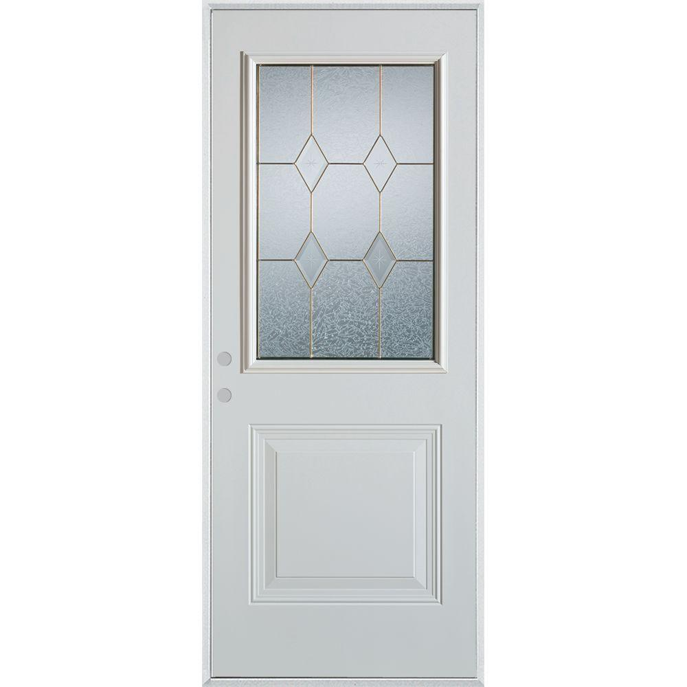 33.375 in. x 82.375 in. Geometric Patina 1/2 Lite 1-Panel Painted