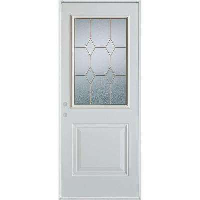 33.375 in. x 82.375 in. Geometric Patina 1/2 Lite 1-Panel Painted White Right-Hand Inswing Steel Prehung Front Door
