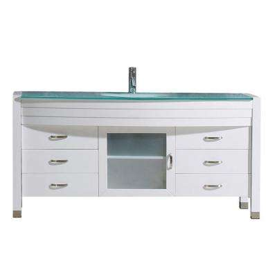 Ava 62 in. W Bath Vanity in White with Glass Vanity Top in Aqua Tempered Glass with Round Basin and Faucet