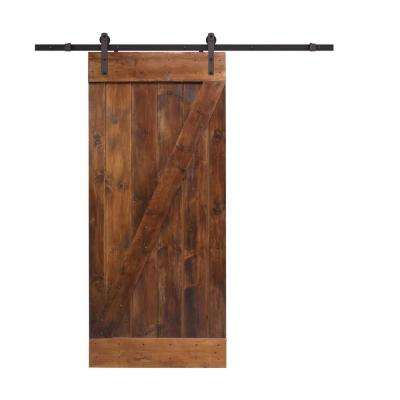 36 in. x 84 in. Z-Bar Coffee Brown Wood Sliding Barn Door with Sliding Door Hardware Kit