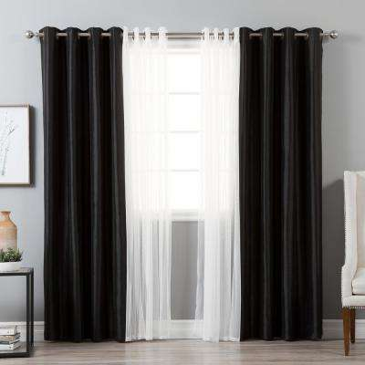 84 in. L uMIXm Tulle and Black Faux Silk Blackout Curtain (4-Pack)