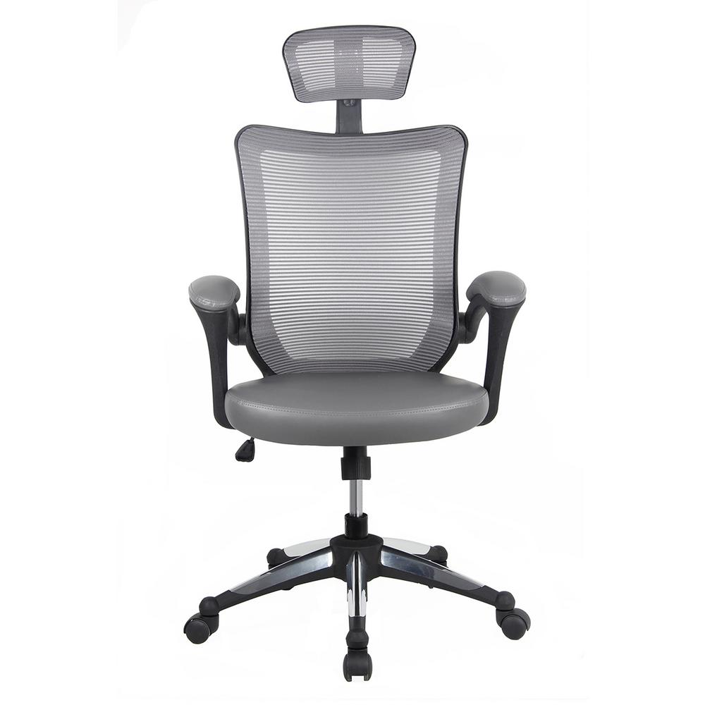 Techni Mobili Gray High Back Mesh Executive Office Chair With