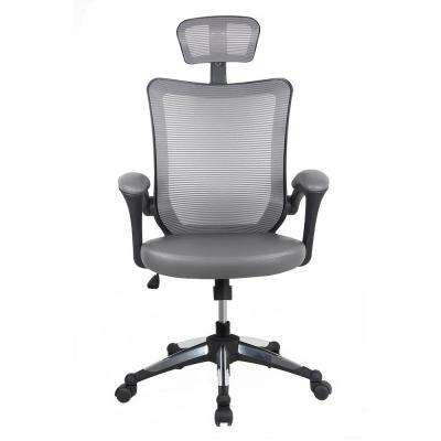 Gray High-Back Mesh Executive Office Chair with Headrest