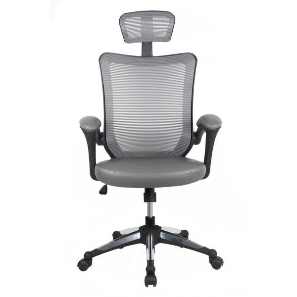 Techni Mobili Gray High-Back Mesh Executive Office Chair with Headrest