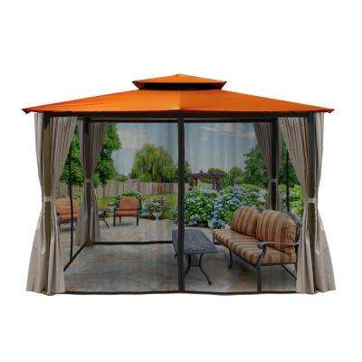 Paragon 10 ft. x 12 ft. Gazebo with Rust Color Top and Privacy Curtains and Mosquito Netting