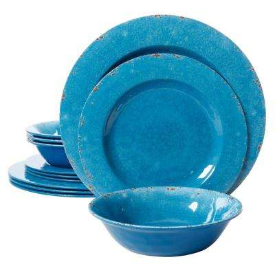 Studio California Mauna 12-Piece Melamine Blue Crackle Look Decal Dinnerware Set