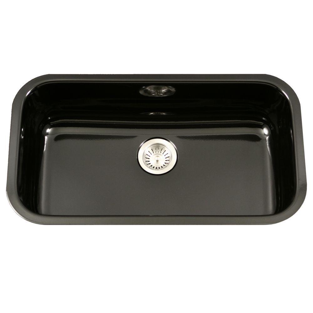 Kitchen Sink Black: HOUZER Porcela Series Undermount Porcelain Enamel Steel 31